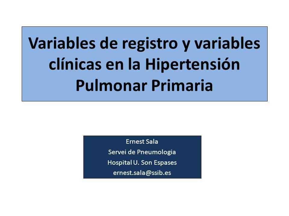 Variables de registro y variables clínicas en la Hipertensión Pulmonar Primaria