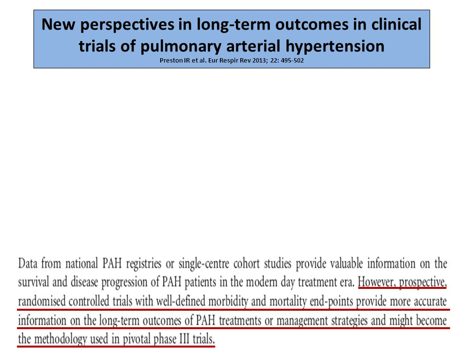 New perspectives in long-term outcomes in clinical trials of pulmonary arterial hypertension Preston IR et al. Eur Respir Rev 2013; 22: 495-502