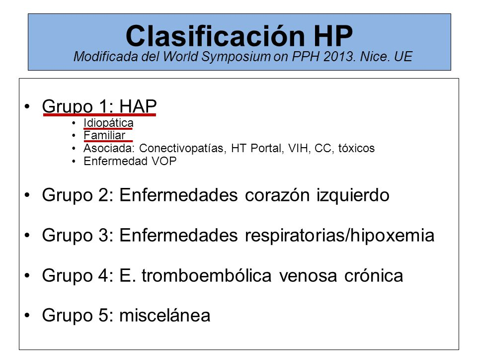 Clasificación HP Modificada del World Symposium on PPH 2013. Nice. UE