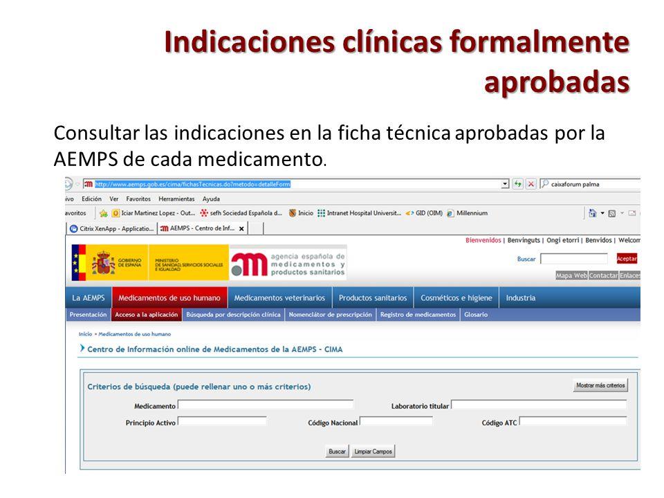 Indicaciones clínicas formalmente aprobadas