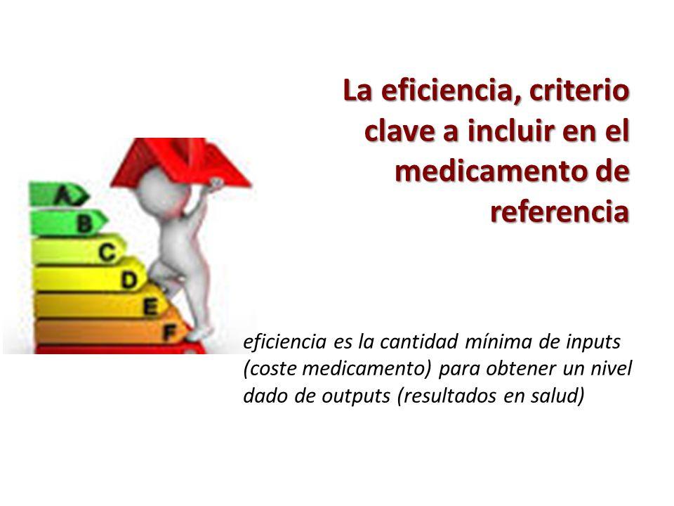 La eficiencia, criterio clave a incluir en el medicamento de referencia