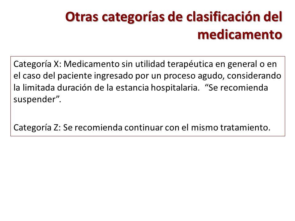 Otras categorías de clasificación del medicamento