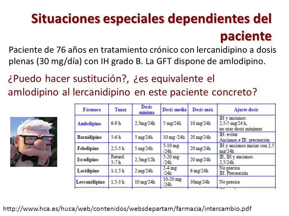Situaciones especiales dependientes del paciente