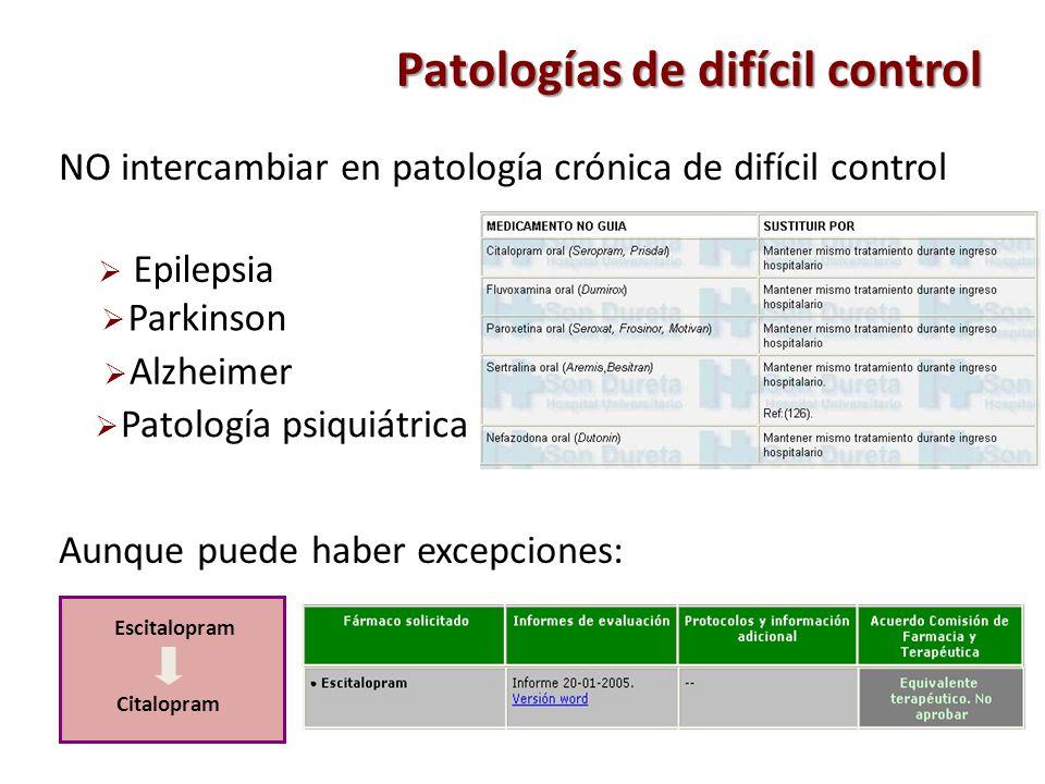 Patologías de difícil control