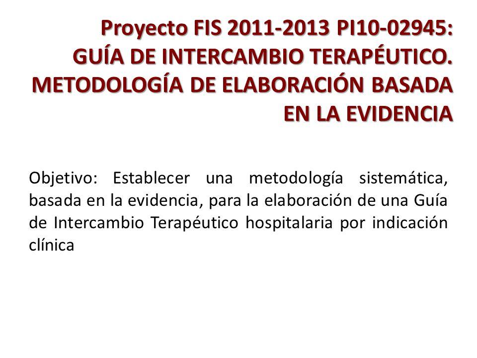 Proyecto FIS 2011-2013 PI10-02945: GUÍA DE INTERCAMBIO TERAPÉUTICO