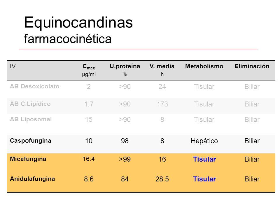 Equinocandinas farmacocinética