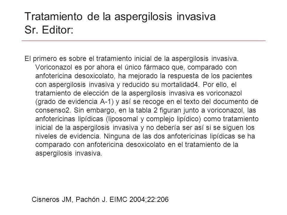Tratamiento de la aspergilosis invasiva Sr. Editor: