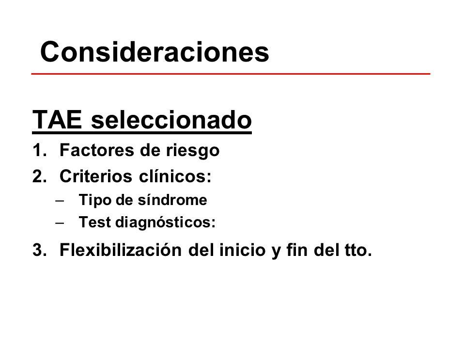 Consideraciones TAE seleccionado Factores de riesgo