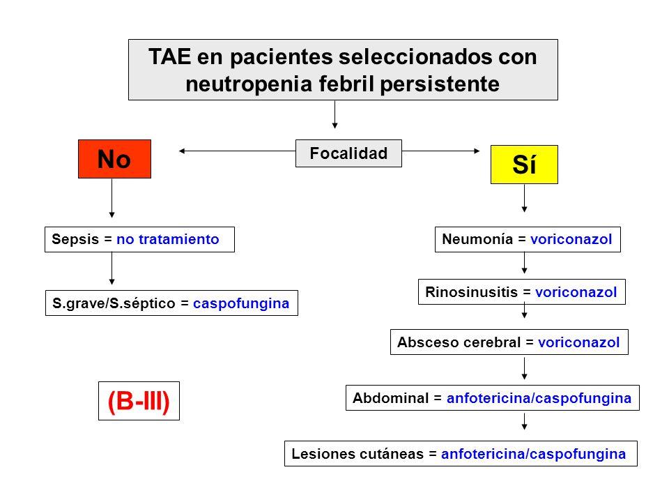 TAE en pacientes seleccionados con neutropenia febril persistente