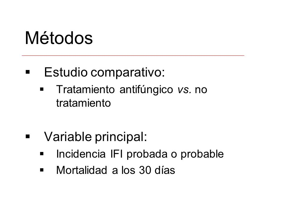 Métodos Estudio comparativo: Variable principal: