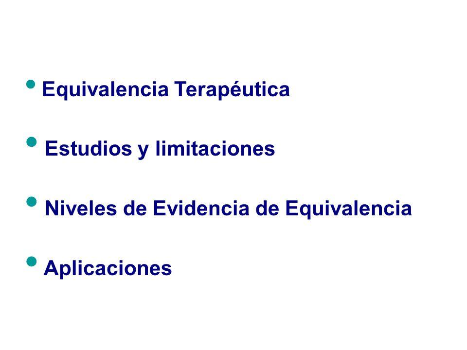 Estudios y limitaciones Niveles de Evidencia de Equivalencia