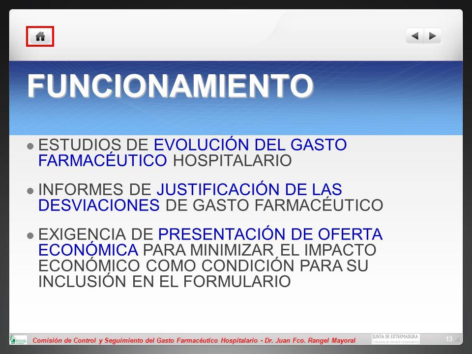 FUNCIONAMIENTO ESTUDIOS DE EVOLUCIÓN DEL GASTO FARMACÉUTICO HOSPITALARIO. INFORMES DE JUSTIFICACIÓN DE LAS DESVIACIONES DE GASTO FARMACÉUTICO.