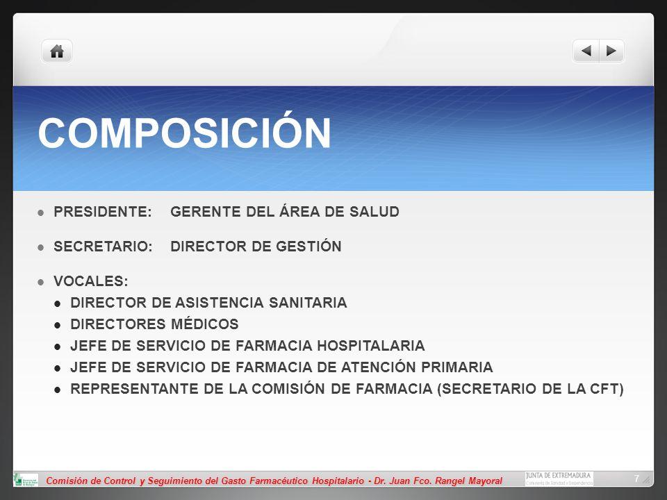 COMPOSICIÓN PRESIDENTE: GERENTE DEL ÁREA DE SALUD