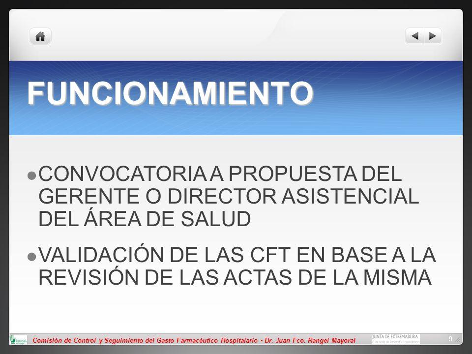 FUNCIONAMIENTO CONVOCATORIA A PROPUESTA DEL GERENTE O DIRECTOR ASISTENCIAL DEL ÁREA DE SALUD.