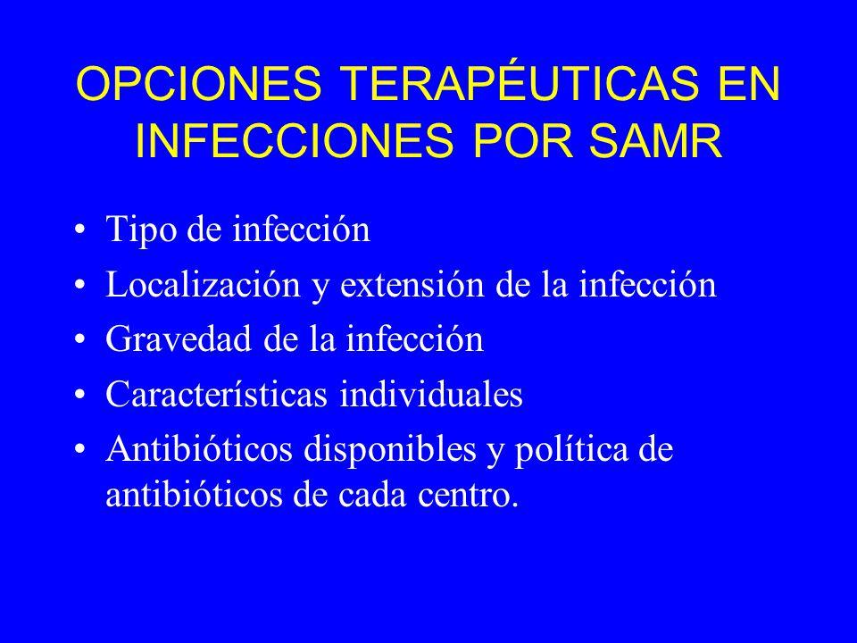 OPCIONES TERAPÉUTICAS EN INFECCIONES POR SAMR