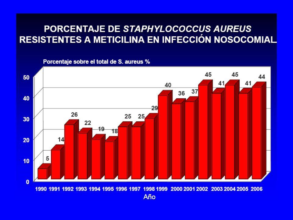 En infecciones nosocomiales, en el 2006 en nuestros hospitales, el 44% (cerca de la mitad) de los S.aureus son Resistentes a la meticilina, % que se mantiene practicamente estable desde el año 1999, en torno al 40%.