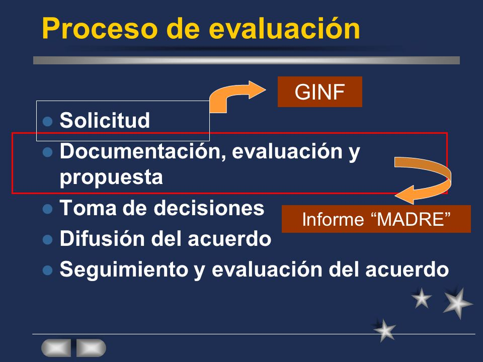 Proceso de evaluación GINF Solicitud