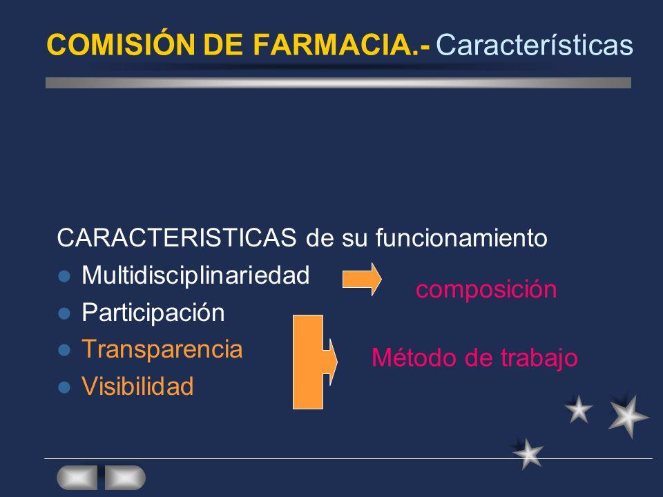 COMISIÓN DE FARMACIA.- Características