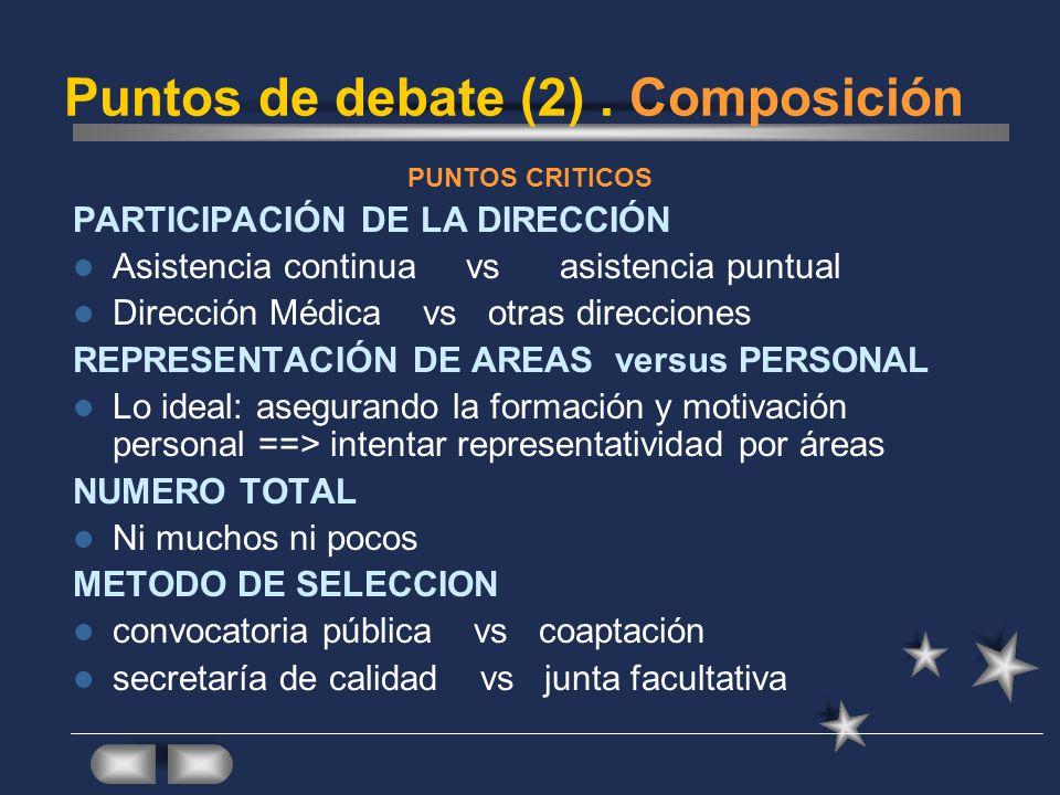 Puntos de debate (2) . Composición