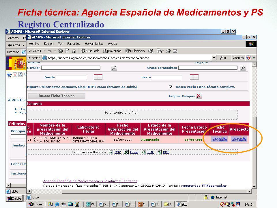 Ficha técnica: Agencia Española de Medicamentos y PS