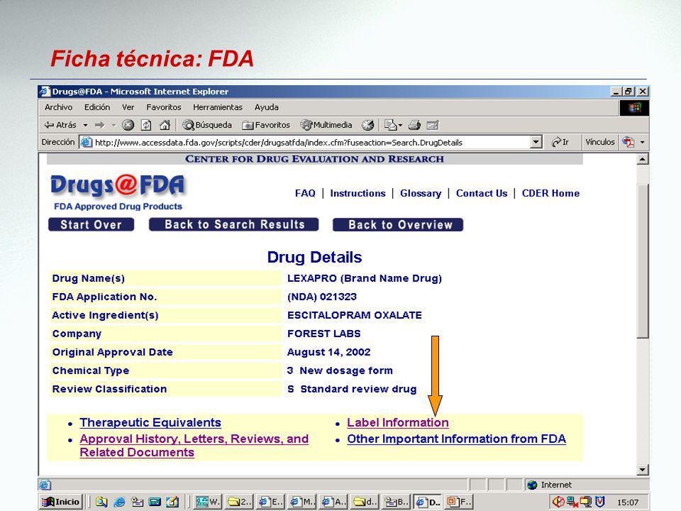 Ficha técnica: FDA