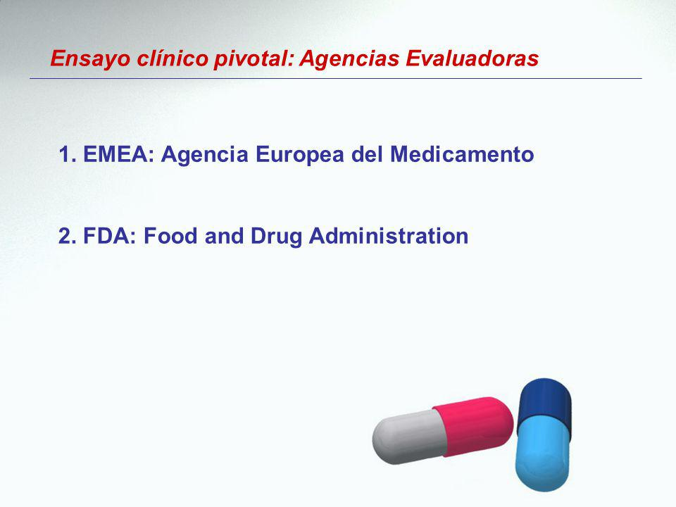 Ensayo clínico pivotal: Agencias Evaluadoras