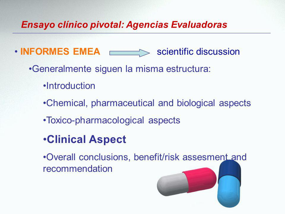 Clinical Aspect Ensayo clínico pivotal: Agencias Evaluadoras