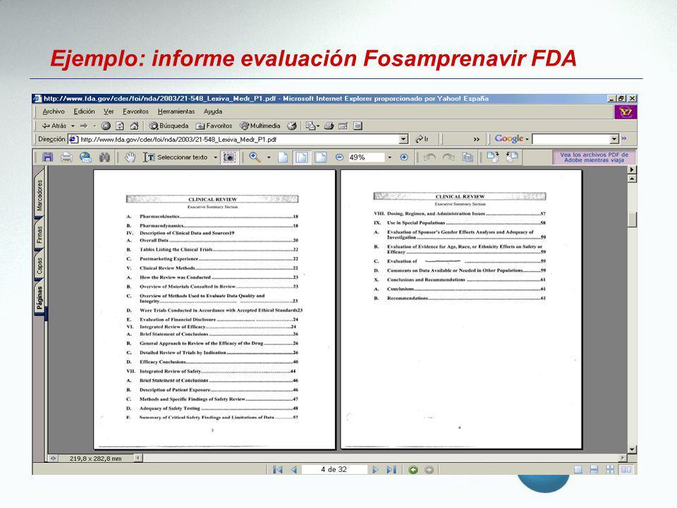 Ejemplo: informe evaluación Fosamprenavir FDA