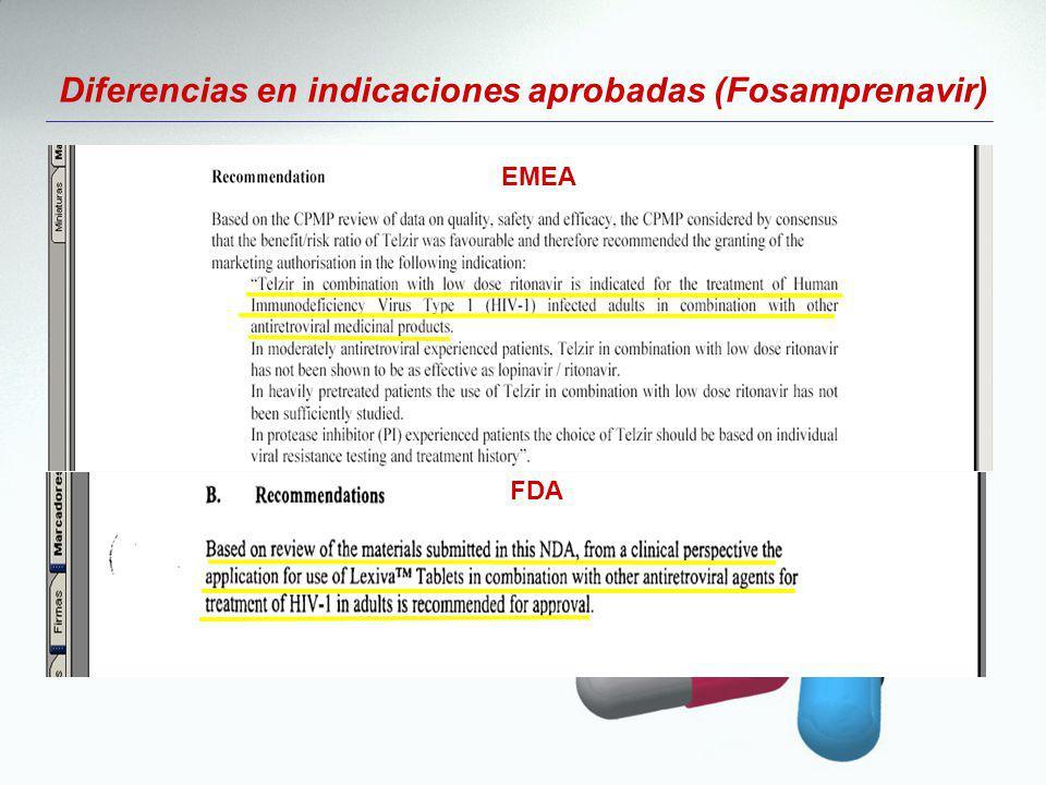 Diferencias en indicaciones aprobadas (Fosamprenavir)