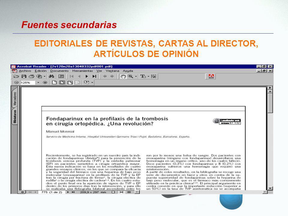 EDITORIALES DE REVISTAS, CARTAS AL DIRECTOR, ARTÍCULOS DE OPINIÓN