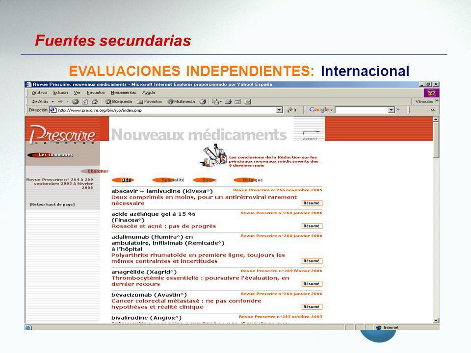 EVALUACIONES INDEPENDIENTES: Internacional
