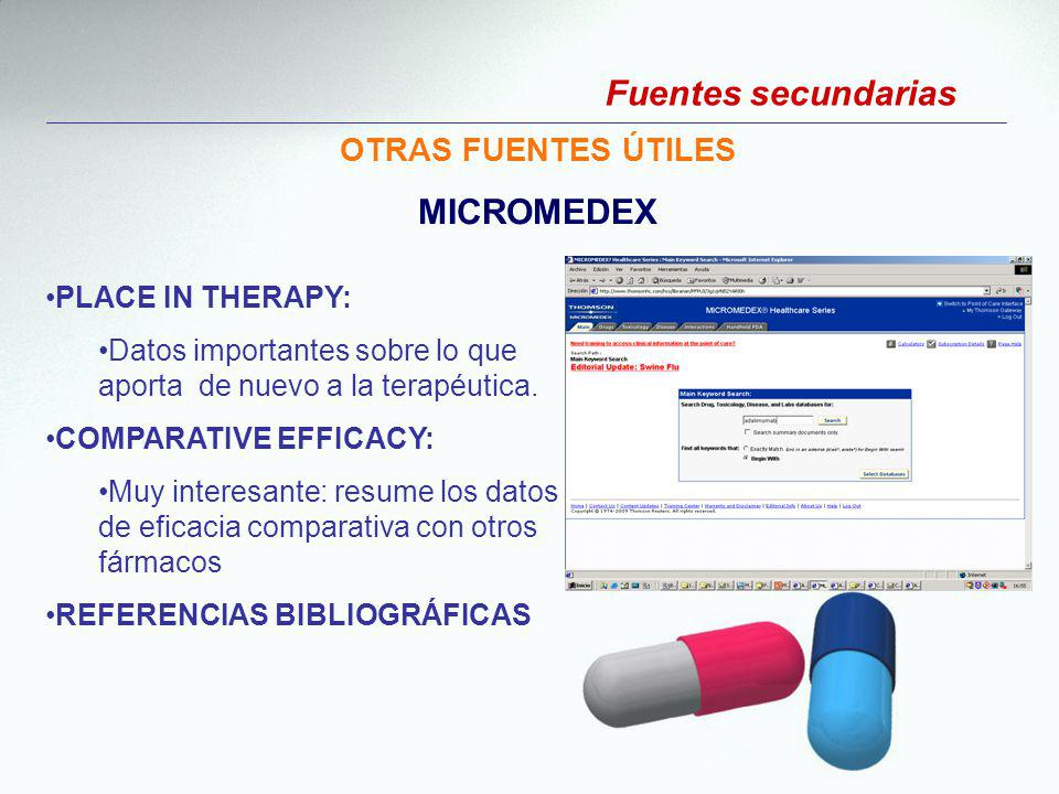 Fuentes secundarias MICROMEDEX OTRAS FUENTES ÚTILES PLACE IN THERAPY: