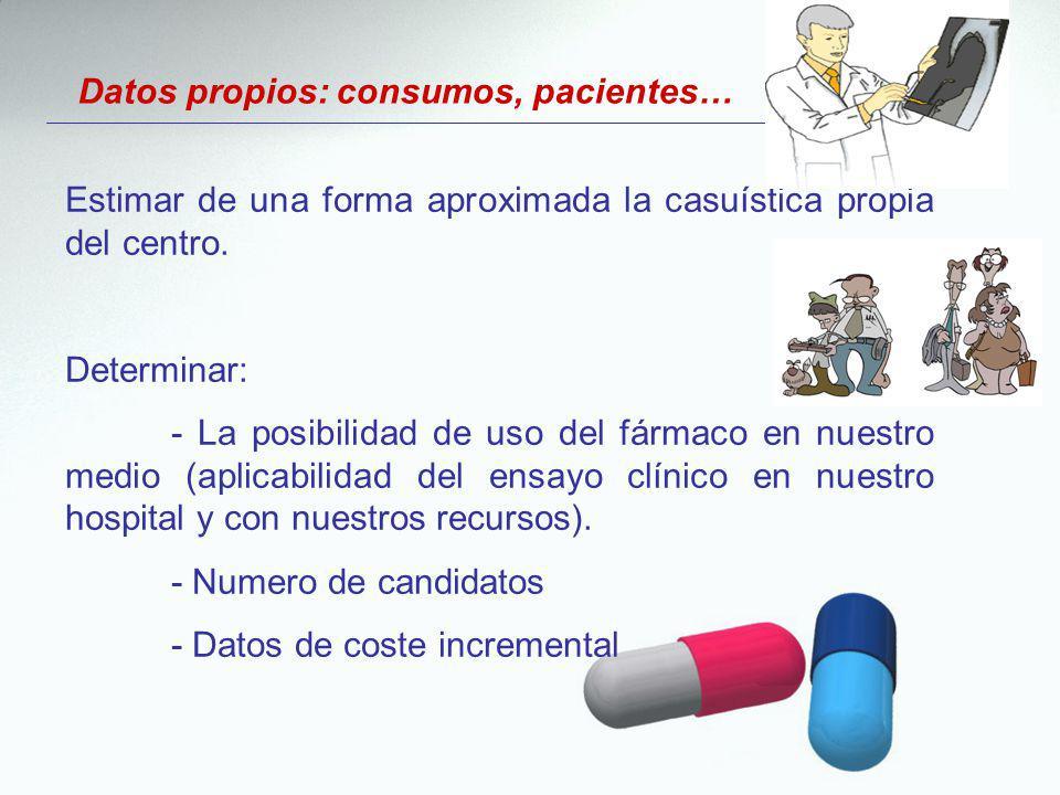 Datos propios: consumos, pacientes…
