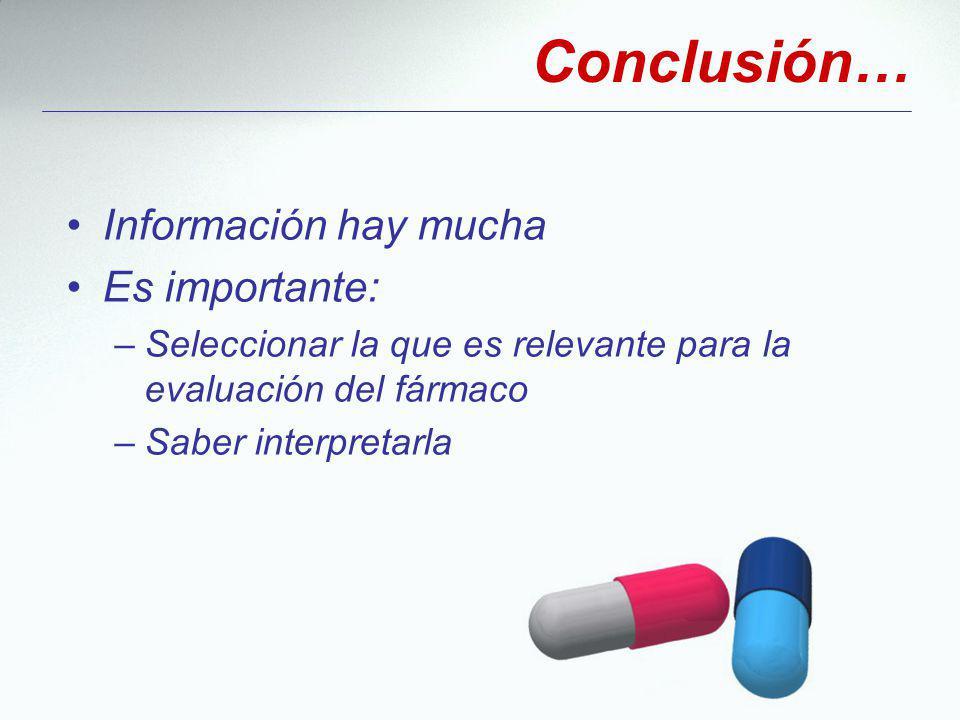 Conclusión… Información hay mucha Es importante: