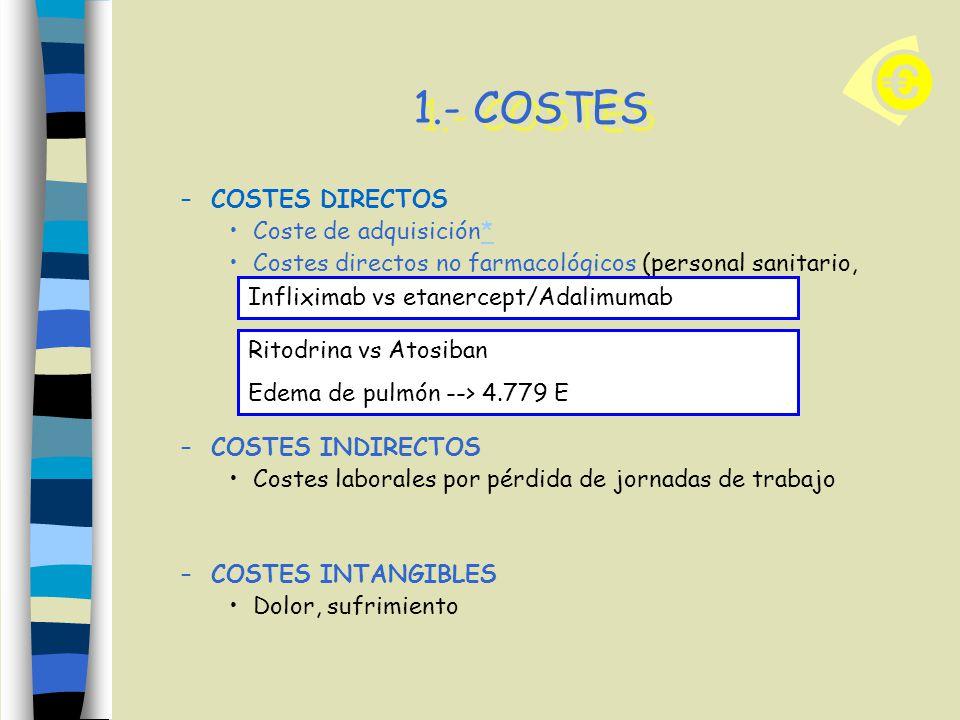1.- COSTES COSTES DIRECTOS Coste de adquisición*