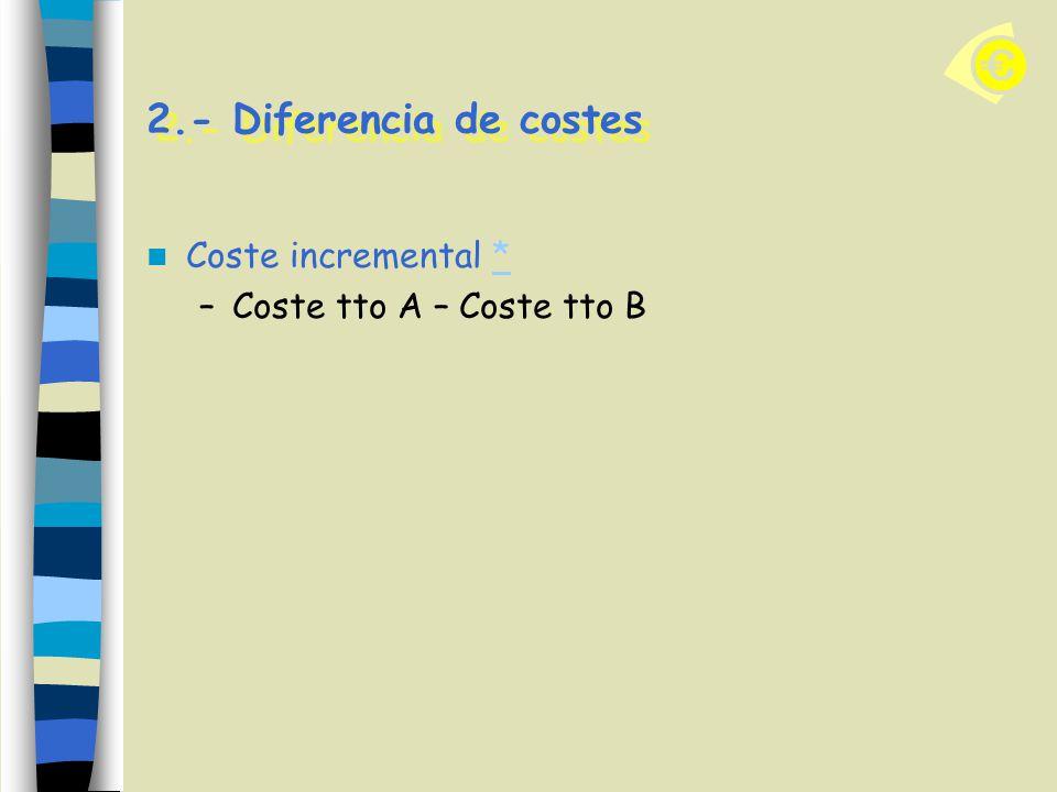 2.- Diferencia de costes Coste incremental * Coste tto A – Coste tto B