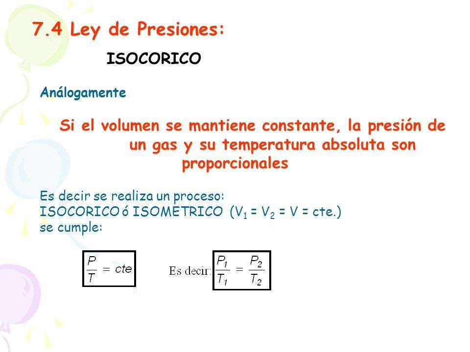 7.4 Ley de Presiones: ISOCORICO