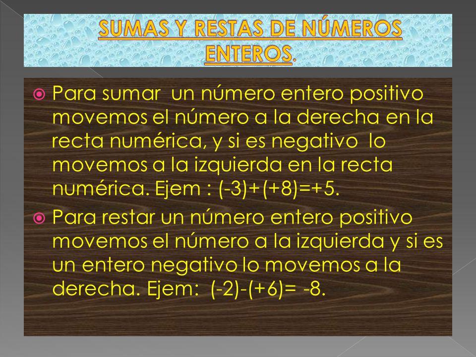 SUMAS Y RESTAS DE NÚMEROS ENTEROS.
