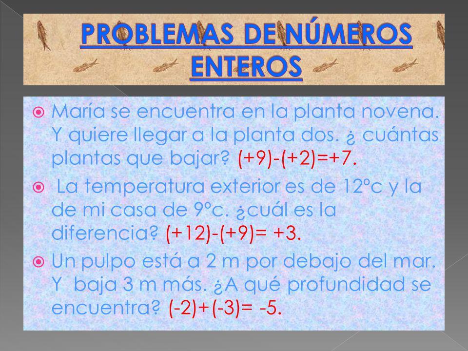 PROBLEMAS DE NÚMEROS ENTEROS