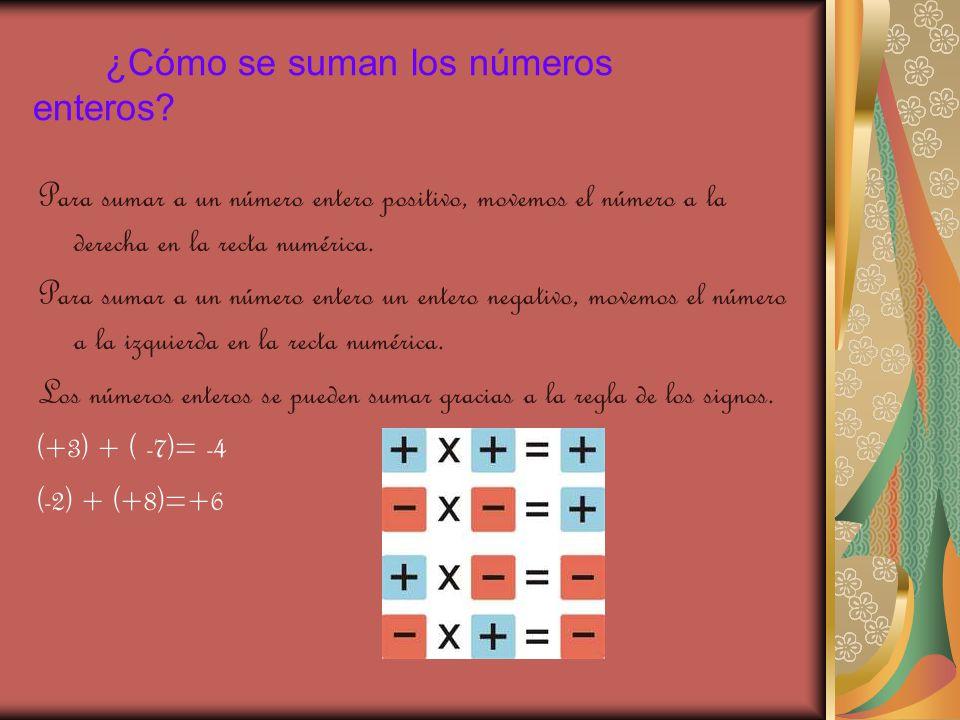 ¿Cómo se suman los números enteros
