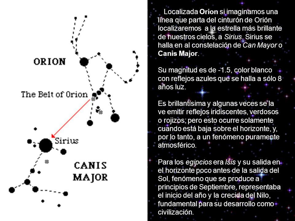 Localizada Orion si imaginamos una línea que parta del cinturón de Orión localizaremos a la estrella más brillante de nuestros cielos, a Sirius. Sirius se halla en al constelación de Can Mayor o Canis Major.