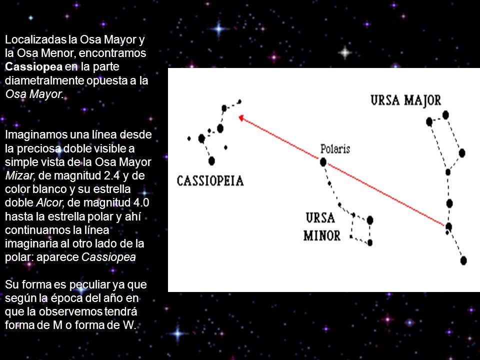 Localizadas la Osa Mayor y la Osa Menor, encontramos Cassiopea en la parte diametralmente opuesta a la Osa Mayor.