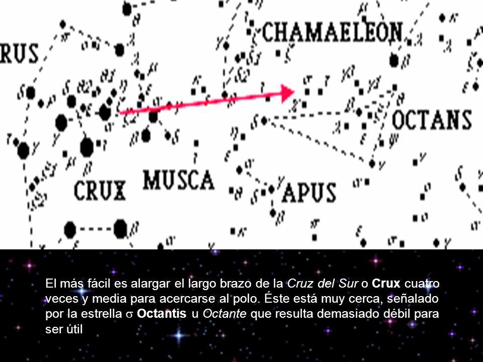 El más fácil es alargar el largo brazo de la Cruz del Sur o Crux cuatro veces y media para acercarse al polo.
