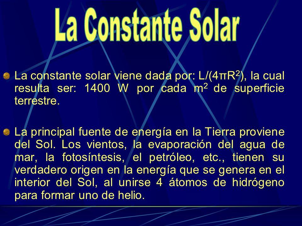 La Constante Solar La constante solar viene dada por: L/(4πR2), la cual resulta ser: 1400 W por cada m2 de superficie terrestre.