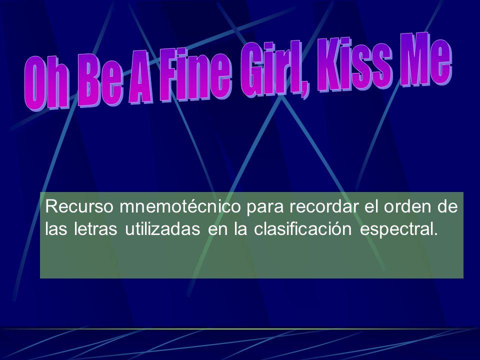 Oh Be A Fine Girl, Kiss Me Recurso mnemotécnico para recordar el orden de las letras utilizadas en la clasificación espectral.