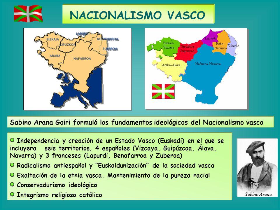 NACIONALISMO VASCO Sabino Arana Goiri formuló los fundamentos ideológicos del Nacionalismo vasco.