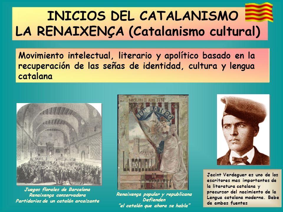 INICIOS DEL CATALANISMO LA RENAIXENÇA (Catalanismo cultural)