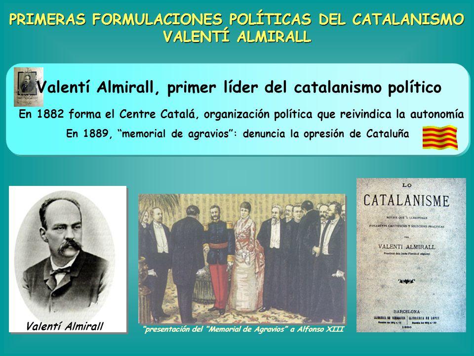 PRIMERAS FORMULACIONES POLÍTICAS DEL CATALANISMO