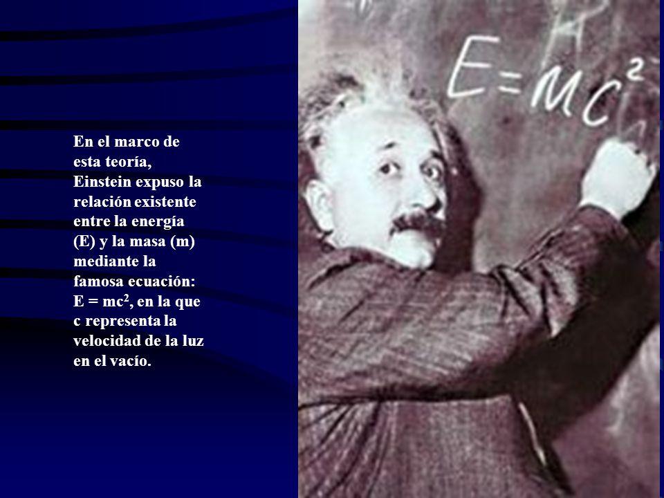 En el marco de esta teoría, Einstein expuso la relación existente entre la energía (E) y la masa (m) mediante la famosa ecuación: E = mc2, en la que c representa la velocidad de la luz en el vacío.