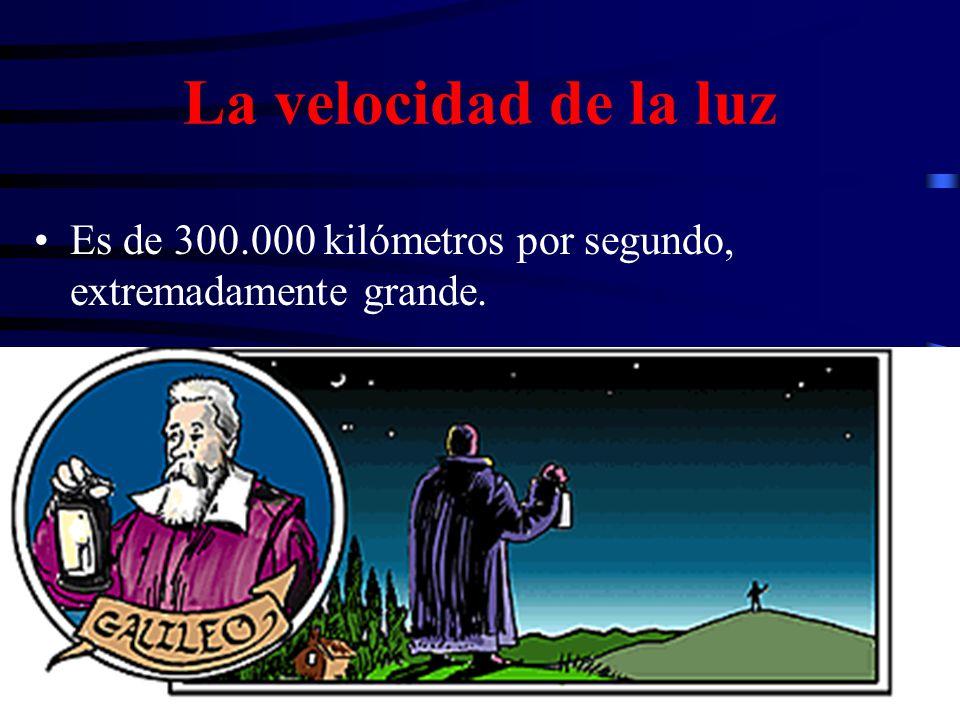 La velocidad de la luz Es de 300.000 kilómetros por segundo, extremadamente grande.
